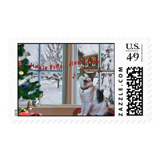 Navidad, gato del canto, nieve, sello