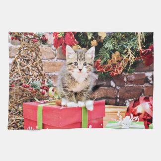 Navidad - gato del gatito - Monki Toalla