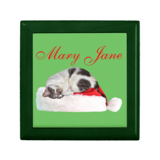 Navidad, gato el dormir, gorra de Santa Caja De Recuerdo