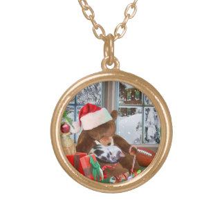Navidad, gato el dormir, oso de peluche colgante redondo