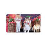 Navidad - gato - mantequilla y guarro etiquetas de dirección