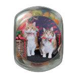 Navidad - gato - mantequilla y guarro jarrones de cristal