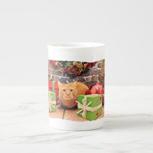 Navidad - gato - Morris Taza De Porcelana