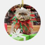 Navidad - gato persa - Frannie Adorno Navideño Redondo De Cerámica