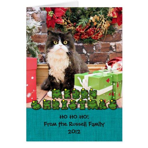 Navidad - gato - persa - George Tarjeta De Felicitación