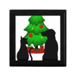 Navidad gato y pequeña caja de regalo del perro