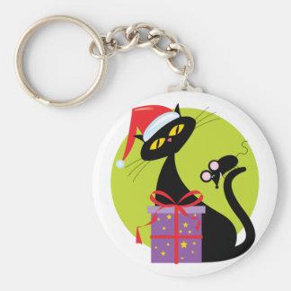 Navidad gato y ratón llavero redondo tipo pin
