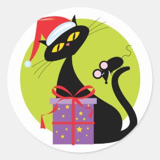Navidad gato y ratón etiqueta redonda