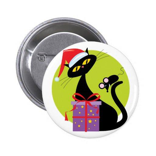 Navidad gato y ratón pin redondo de 2 pulgadas