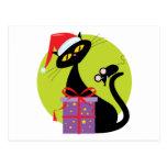 Navidad gato y ratón postal