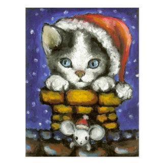 Navidad gato y ratón tarjeta postal
