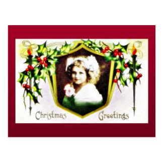 Navidad geeting con un chica adornado con HOL Postales