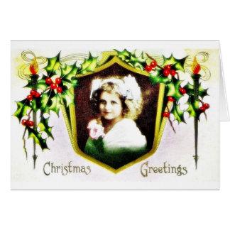 Navidad geeting con un chica adornado con HOL Tarjeta De Felicitación