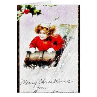 Navidad geeting un chica que corre a partir de caí tarjeta de felicitación