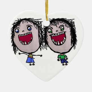 Navidad gemelo divertido adorno navideño de cerámica en forma de corazón
