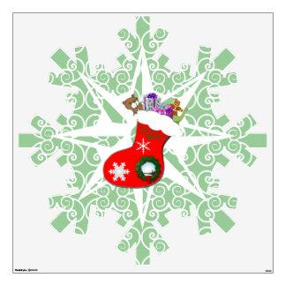 Navidad gigante que almacena la etiqueta del copo  vinilo adhesivo