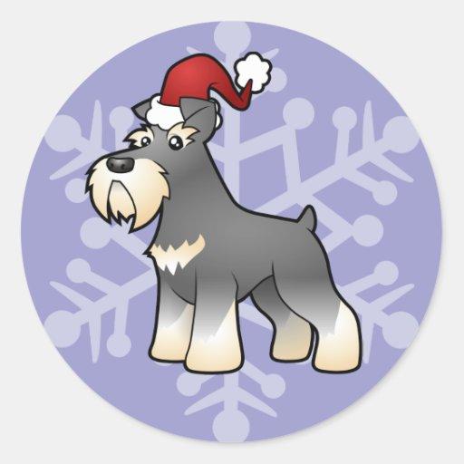 Navidad gigante/Schnauzer estándar/miniatura Pegatina Redonda