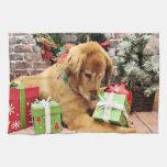 Navidad - golden retriever - Addison Toalla De Mano