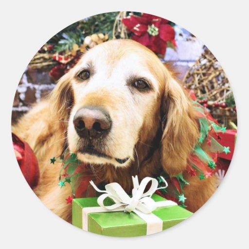 Navidad - golden retriever - Bailey Pegatina Redonda