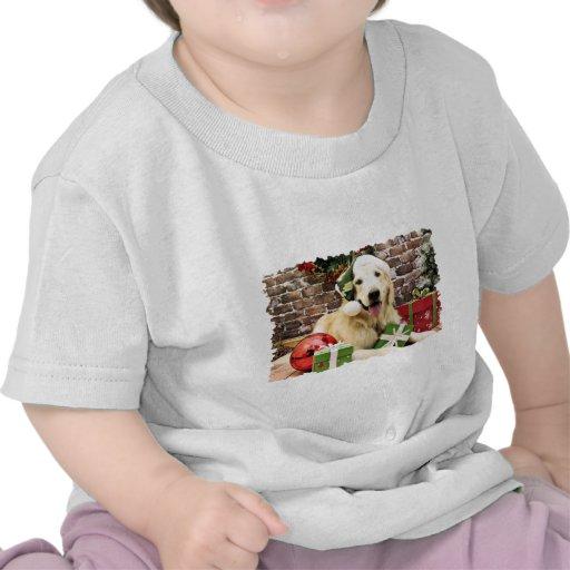 Navidad - golden retriever - el Hudson Camiseta