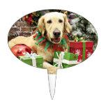 Navidad - golden retriever - Penuche Figura De Tarta