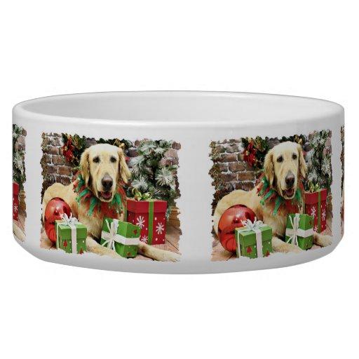 Navidad - golden retriever - Penuche Tazón Para Perro