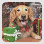 Navidad - golden retriever - Sidney Pegatinas Cuadradas Personalizadas
