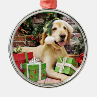 Navidad - golden retriever - Tucker Adorno Redondo Plateado