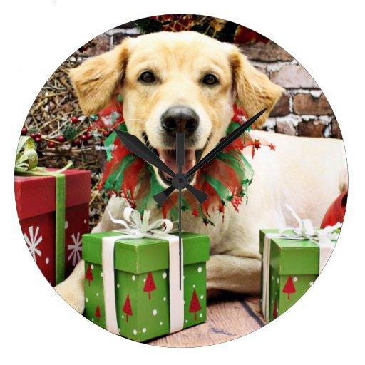 Navidad - golden retriever - Winslow Reloj Redondo Grande