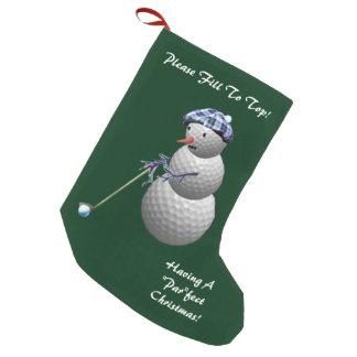 Navidad Golfing del muñeco de nieve Calcetín Navideño Pequeño