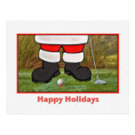 Navidad, golfista de Santa, postal