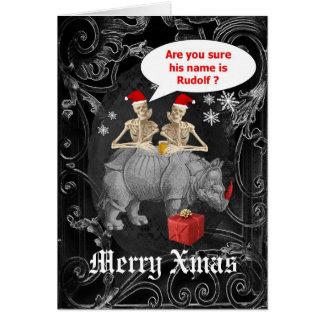 Navidad gótico del reno divertido tarjeta de felicitación