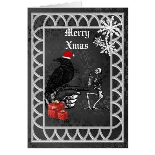 Navidad gótico divertido de santa felicitaciones