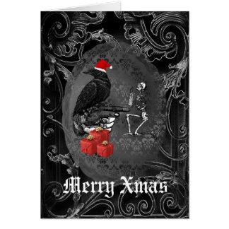 Navidad gótico divertido del negro del cuervo tarjeta de felicitación