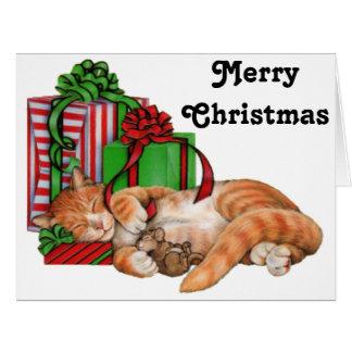 Navidad grande gato, ratón y regalos de Navidad Tarjeta De Felicitación Grande