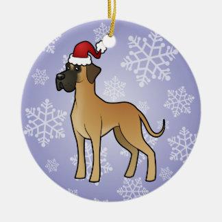 Navidad great dane adorno navideño redondo de cerámica