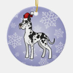 Navidad great dane adorno redondo de cerámica