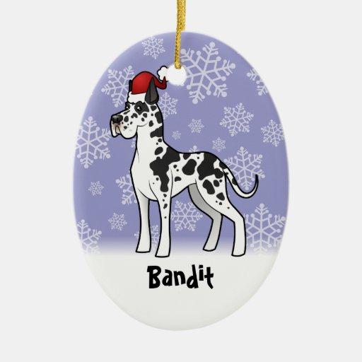 Navidad great dane (añada su nombre de mascotas) adorno ovalado de cerámica