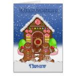 Navidad Gree de la casa de pan de jengibre y de la Felicitaciones
