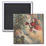 Navidad GreetingSanta con el árbol y los regalos Imán Cuadrado