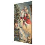 Navidad GreetingSanta con el árbol y los regalos Impresión En Lienzo