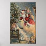 Navidad GreetingSanta con el árbol y los regalos Póster