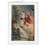 Navidad GreetingSanta con el árbol y los regalos Tarjeta De Felicitación