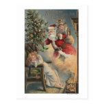 Navidad GreetingSanta con el árbol y los regalos Tarjeta Postal