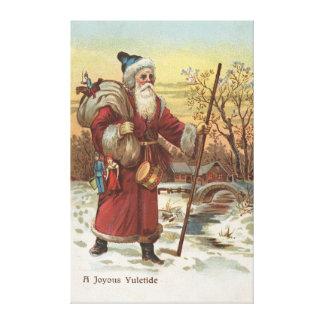Navidad GreetingSanta con el bastón Impresiones En Lona