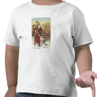Navidad GreetingSanta con el bastón Camisetas