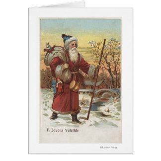 Navidad GreetingSanta con el bastón Felicitacion