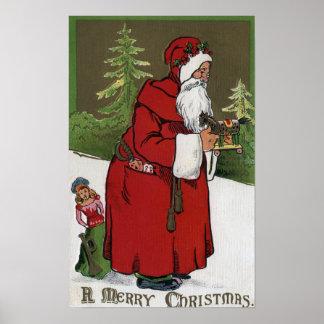 Navidad GreetingSanta con el caballo de madera Póster