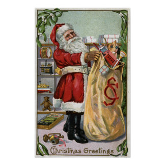 Navidad GreetingSanta con el saco grande Póster
