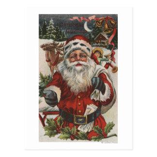 Navidad GreetingSanta con los ciervos y los niños Tarjetas Postales